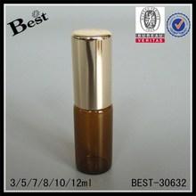 3ml amber roll on bottle with aluminum cap, tube glass bottle wholesale, small glass bottle for essential oil