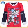 ( a5698) vermelho 2-6y novo design primavera shirts meninos atacado dinossauro padrãocrianças camiseta de manga comprida