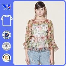 Romantic waves and elastic sleeve raglan sleeve embroidered t-shirt