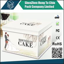 Food grade colorful print logo white cardboard beautiful decorative custom made kraft paper cardboard birthday cake box