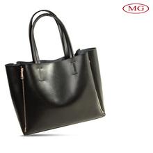 custom women ladies genuine leather black shoulder tote bag with two side zipper