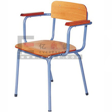Wonderful Popular Plywood Seat and Metal Frame School Chairs With Armrest For Dining And School Studying