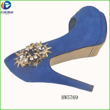 New design gold clip shoes diy with rivet in 2015