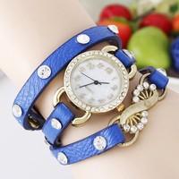 Women Vogue Watch 80952 Red/Black/Blue/Green Band Round Rhinestone Hand Woven Multiple Strap Quartz Bracelet Watches