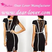 Wholesale lace V neck ladies stylish black and white dress