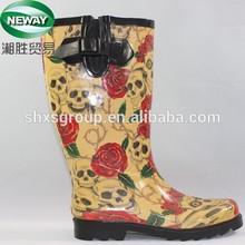 Waterproof Yellow Flower Printed Rubber Rain Boots for Women