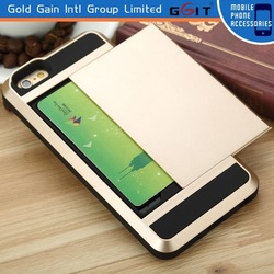 [GGIT] Top Quality for iPhone 6 Plus TPU+ PC Case with Sliding Card Holder