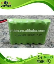Ni-Mh AAA 800mAh 7.2v rechargeable batteri pack