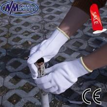 NMSAFET bleach white cotton liner hand gloves safety gloves super quality