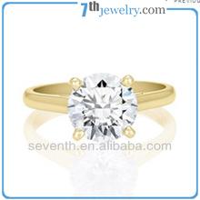 Plain Band 18K Gold Plated Big Diamond Wedding Ring