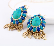 Fashion accessories blue natural stone drop earrings Factory Wholesale earring (BF-MN-14112718)