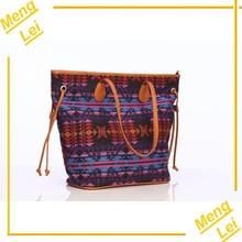 2015 black aztec scottish canvas fashion women handbag