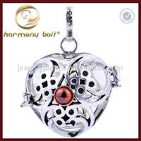 Tai Silver Classic Red Stone Heart Mexican Bola,Original Harmony Ball 20mm