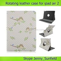 Tablet case owl cartoon design rotating leather case for ipad air 2 ,for ipad air case,for ipad case leather 2014