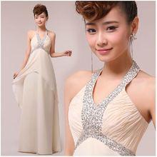 Champagne Color Halter Floor Length A-line Long Prom Evening Dress