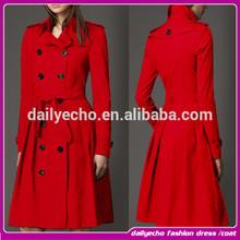 Latest trendy women knee length winter coat Double-breasted