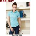 baratos elegante camisa de la mujer al por mayor ropa de las señoras de moda joven ropa de encaje con el parche de trabajo