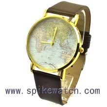 Plating gold bezel map dial watch perfect quartz japan movement gold mens watch