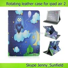 for ipad case 360 rotating ,owl cartoon leather case for ipad air 2 ,for ipad air case 2014