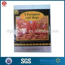 offset print 2 pack of Halloween orange Pumpkin shaped leaves trash bag