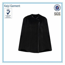 2015 newest style black winter poncho coats fancy ladies wool cape