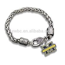 Football Team Logo Michigan Wolverines Metal Bracelets For Men B105824