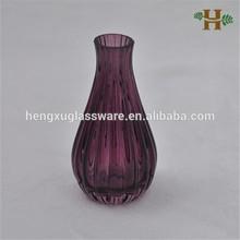 Handmade boca pequena com nervuras vaso de vidro, Spray de lavanda pouco tarja vidro