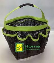 rubber mesh shower caddy, showe tote, shower bag, green