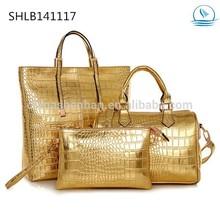 Gold,Silver,Black 3pcs Handbags High Grade Woman Office Causal Bag