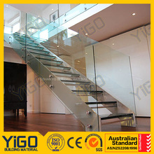NEW Modern steel structure staircase with glass steps railings