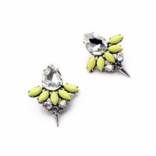 Bright Yellow Glass Bird Shape Stud Earrings