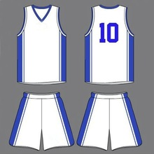 Wholesale athletic white and blue basketball jerseys design custom basketball uniform fabrics