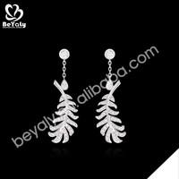 Womanly leaf shape design silver cz or diamond dangler earrings