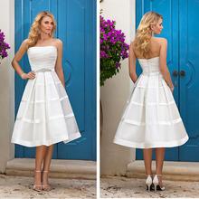 tea length wedding dresses A Line Strapless Ribbon Beading Wihte Short Wedding Gowns Custom Made