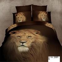 2015 best selling lion design cotton wholesale bedspreads 3d duvet cover set