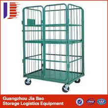 three sided laundry storage cage/metallic logistics trolley transport trolley