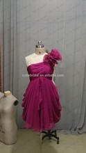 Short Purple Red Pleat Bodice One Shoulder Mini Evening Dresses 2014 Ruffles Hem Girl Party Dress