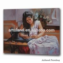 Handmade woman portrait oil painting
