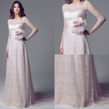 Custom brand Noble Wedding Dresses Empire Long Sleeve Court Train Flower Waist Lace Wedding Gowns Wedding Gowns