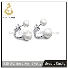 New trendy 925 sterling silver personalized seashell double pearl hoop earrings SP02