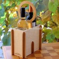 Custom Logo 2 Bottle Wooden Wine Carrier,Holder Tote Accept OEM
