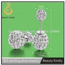 Double side ball stud earrings 925 sterling silver crystal ball stud earrings SP05
