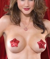 X-mas use sequin tassel red boobs nipple cover