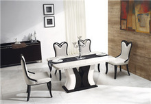 High quality marble table and solid wood dining chair set T2051-M+MAD359+C2122