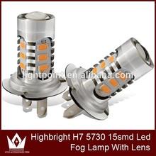 Pink 7.5W 15 SMD 5730 SMD Fog Head Tail Driving Car Light Bulb Lamp DC 12V LED Auto Bulbs H7