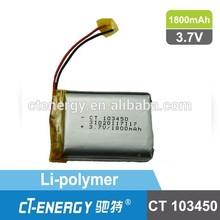 103450 rechargeable battery lipo 3.7v 1800mah