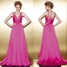 Free shipping Simple Pink Prom Dresses A Line V Neck Zipper Sleeveless Floor Length Stretch Satin Beading