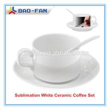 Sublimation Coffee Mug White Sublimation Ceramic Coffee Set (mug, plate, spoon) High Quality