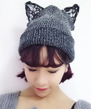 C84478A Cat ear lady knitted hats,Hedging warm winter hat