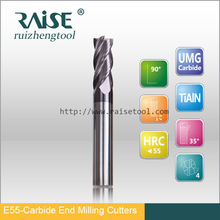 4 flutes HRC55 carbide square end mill with TIALN coating for cutting tool
